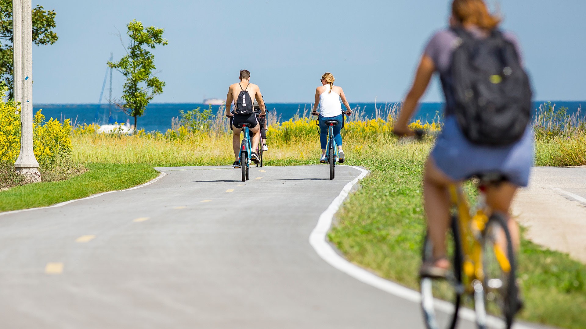 The bike path along Lake Michigan on a clear sunny day. People are riding bikes.